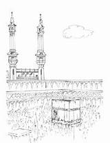 Coloring Kaba Pages Line Islamicity sketch template