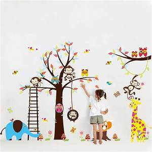 Sticker geant pour enfant arbre singe girafe et for Carrelage adhesif salle de bain avec led driving lights