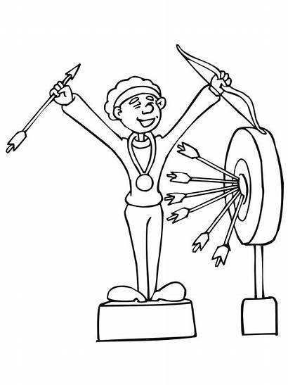 Coloring Archery Winner Prize Archer Pages Competition