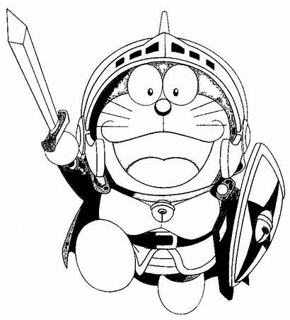 Doraemon Coloring Pages Cartoon Warrior Colouring Printable