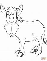 Coloring Donkey Cartoon Donkeys Printable Drawing Asino sketch template