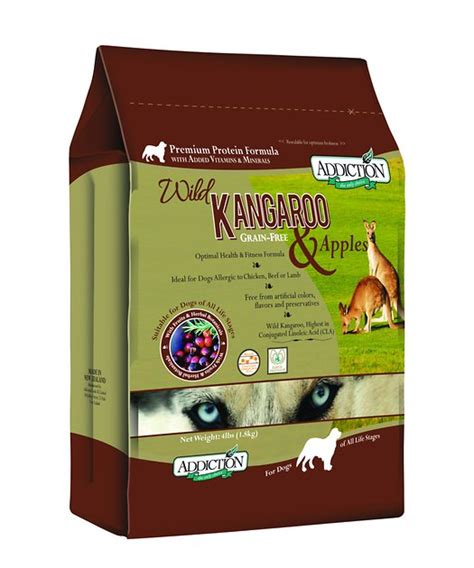 It's available to order from their website, and perhaps in months to come we'll also. Addiction Grain-Free Wild Kangaroo & Apples Dry Dog Food ...