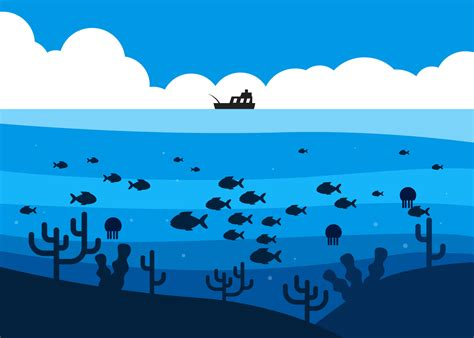 Deep Sea Fishing Boat Vector by Fish In Deep Sea Under The Fishing Boat Illustration