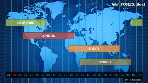 forex market hours  world map showing timezone