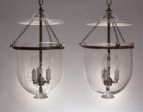 pair antique bell jar lanterns with wheat