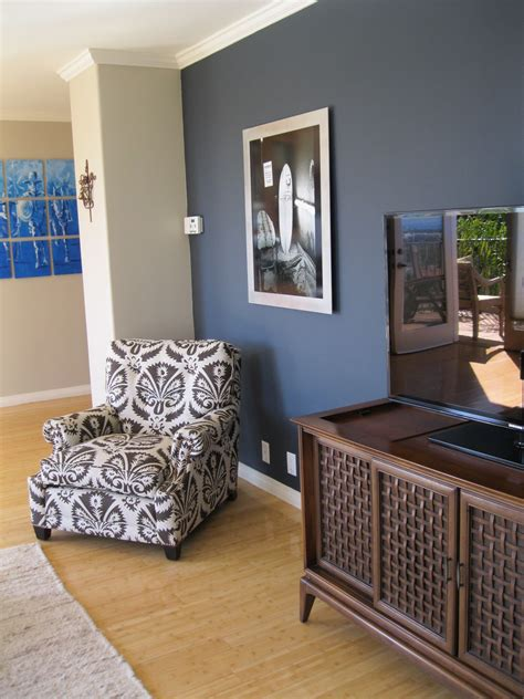 shade of blue on wall camoflauges tv love the chair too