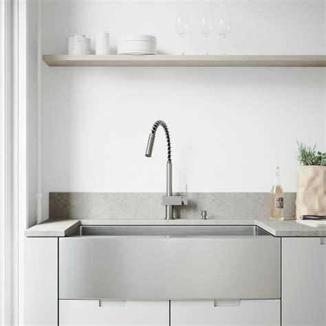 vigo kitchen sinks vigo farmhouse apron front 30 in single bowl kitchen sink 3150