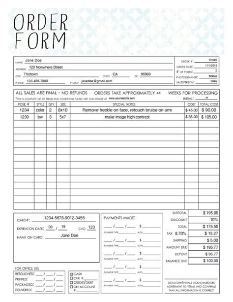 16545 sle order form pdf general photography sales order form template