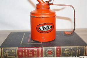 VINTAGE Red Chippy OIL CAN Wesco Cool Home Decor Rustic