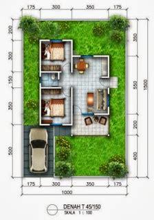 denah rumah minimalis type  tanah