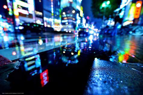 wallpaper lights night wet street  desktop