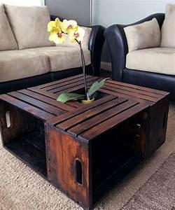 Table Basse Caisse Bois : d coration cologique avec une ancienne caisse bois ~ Nature-et-papiers.com Idées de Décoration