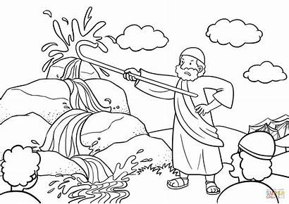 Moses Coloring Rock Water Bible God Pages