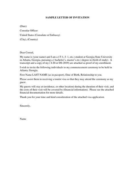 united states visitor visa letter sample letter