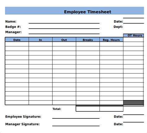 timesheet templates  sample  format