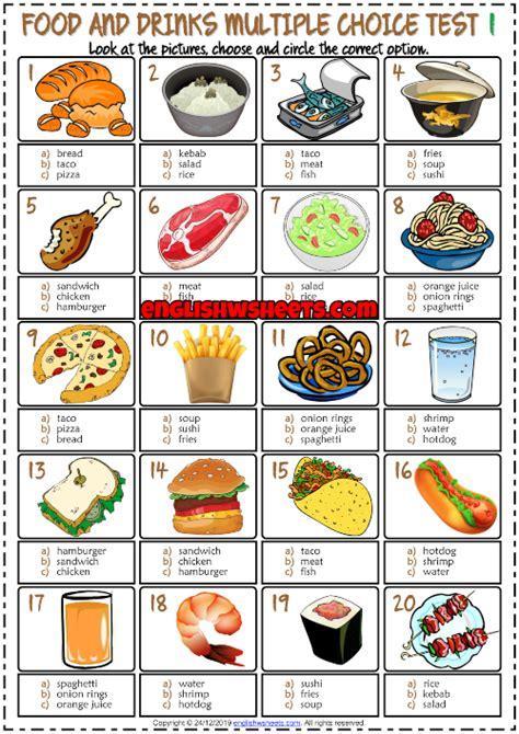food  drinks esl printable multiple choice tests