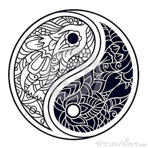 yin   decorative symbol hand drawn vintage style