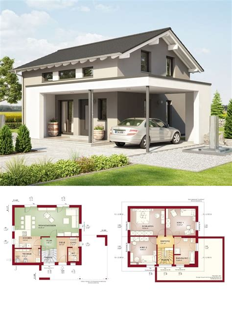 Moderne Häuser Mit Carport by Einfamilienhaus Modern Mit Design Carport Und Satteldach