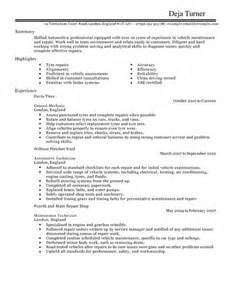 Assistant Automotive Mechanic Resume by Automotive Cv Exles Cv Templates Livecareer