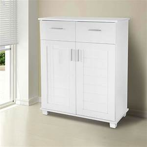 High Gloss Shoe Storage Cabinet Organizer Closet 4 Shelf Rack 2 Drawers White EBay