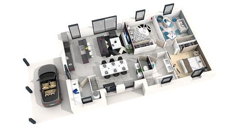 Plan De Maison Plain Pied 3 Chambres 3d Dn92