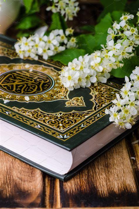 quran holly book  islam  spring flowers  blue