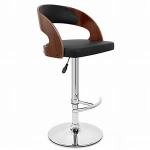 Chaise De Bar Bois : chaise de bar bois chrome eve noyer monde du tabouret ~ Teatrodelosmanantiales.com Idées de Décoration