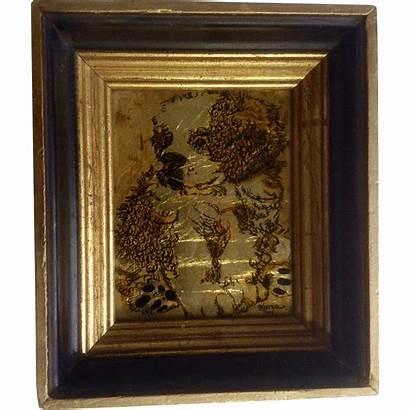 Gold Leaf Reverse Glass Dog Painting Artist