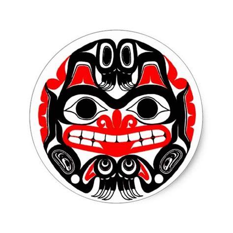 haida bear classic  sticker   red sun