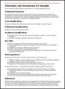 Laboratory Technician Resume Skills by Chemistry Lab Technician Cv Sle Myperfectcv