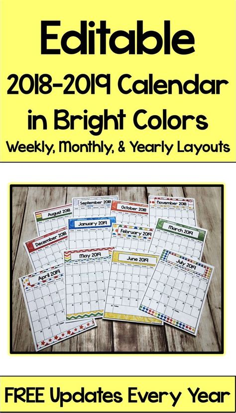 editable calendar bright colors current bujo classroom