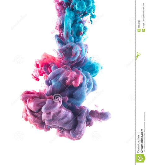 ink color blue and violet ink color drop underwater stock image