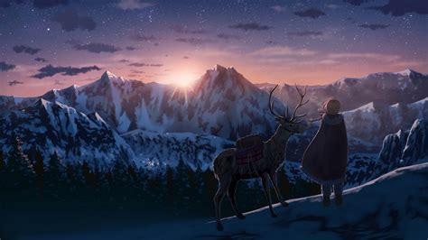 Anime Mac Wallpaper - anime anime deer snow winter mountains