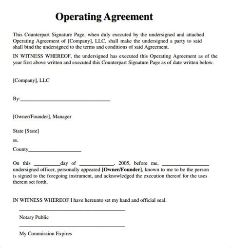 sample llc operating agreement templates