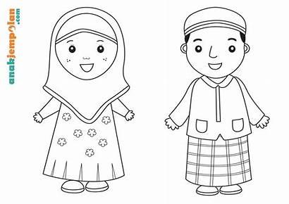 Mewarnai Gambar Anak Muslim Belajar Untuk Sekolah
