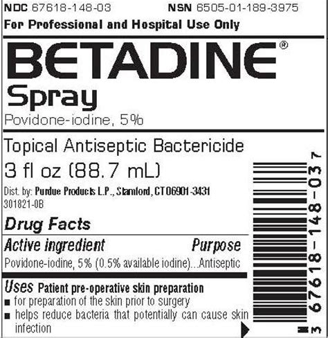Powerpad L Active Ingredient by Betadine Purdue Products Lp Povidone Iodine 05ml In 1ml