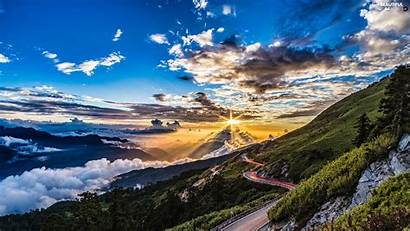 Sunrise Mountains Clouds Sky Views Way Wallpapers