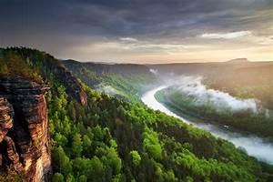 Landscape, Nature, River, Canyon, Forest, Mist, Cliff, Clouds, Sunset, Spring, Czech, Republic