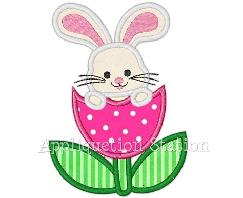 Free Embroidery Applique by Easter Bunny Tulip Flower Applique Machine Embroidery