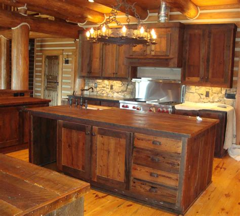 Marvelous Rustic Kitchen Cabinets Using Wood As Base