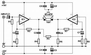 build a 35w bridge power amplifier with tda2030 circuits With audio splitter amplifier circuit diagram using tl084 super circuit