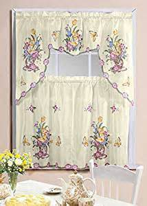 amazon com butterfly printed kitchen curtain swag set