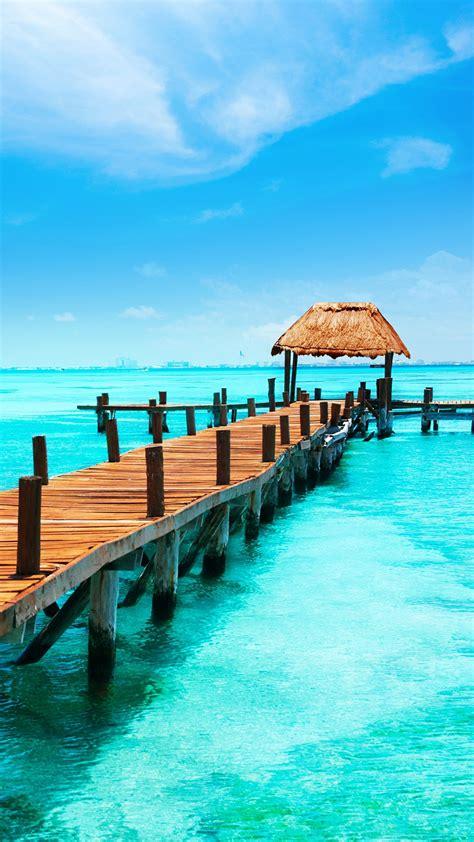 wallpaper ocean pier dock wooden sunny day blue sky