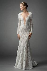 7 gorgeous types of long sleeved wedding dresses you need With plunge wedding dress