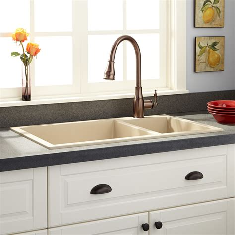 beige kitchen sink 34 quot halloway 70 30 offset bowl drop in granite 1574
