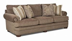 Traditional sofa with rolled arms and nailhead trim by for Sectional sofas with nailhead trim