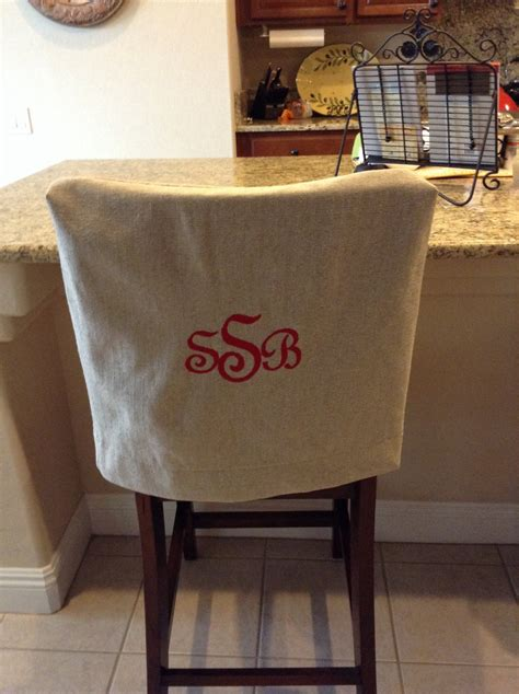 monogrammed chair back cover linen washable fabric