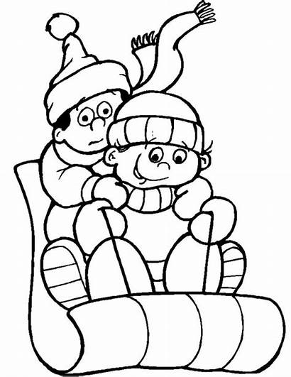 Coloring Winter Pages Sledding Allkidsnetwork Searching Didn