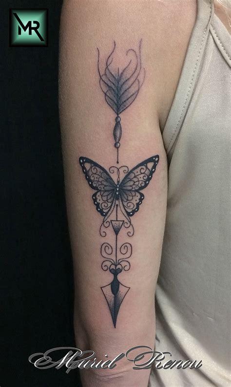 tatouage fleche graphique  papillon cristattoo