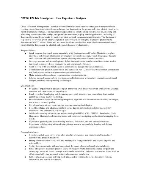 ux designer description user experience designer description